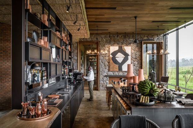 The bar at the new Singita Kwitonda Lodge.