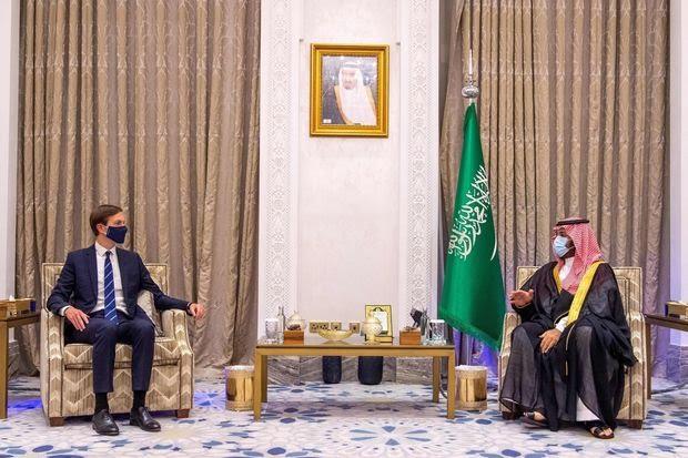 Prince Mohammed with White House senior adviser Jared Kushner in Saudi Arabia on Sept. 1.