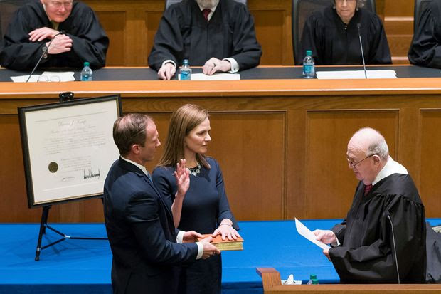 Amy Coney Barrett's investiture as judge for the U.S. Court of Appeals for the Seventh Circuit in South Bend, Ind., February 2018.