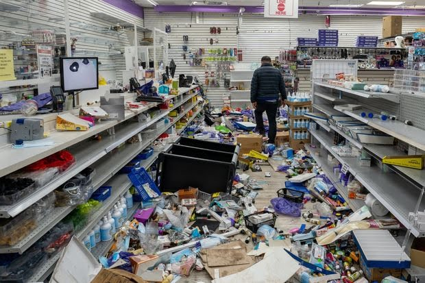 A looted store following protests in Philadelphia.