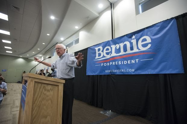 Trends such as wealth disparities and wage stagnation animated the presidential candidacy of Sen. Bernie Sanders of Vermont, seen here speaking at a rally in Manchester, N.H., in August 2015.