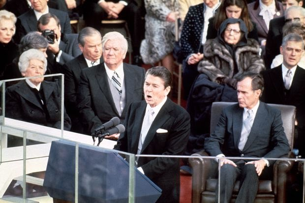 Ronald Reagan speaking at his inauguration on Jan. 20, 1981.